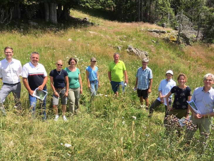 Die Teilnehmenden der Beiratssitzung stehen auf einer Bergwiese im Schwarzwald und schauen in die Kamera. Sie haben gerade eine zur Tränke gefasste Kluftquelle inaugenschein genommen.