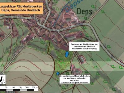 Lageplan für geplante Rückhaltebecken südlich von Deps.