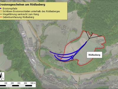 Lageskizze zum Erosionsgeschehen am Rödlasberg.