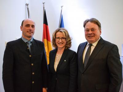 Landwirtschaftsminister Brunner, Bürgermeisterin Maier, Bezirkspräsident Enderle