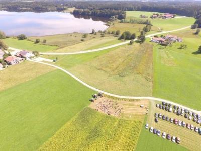 Versuchsflächen des Betriebs Linner, im Hintergrund der Pelhamer See