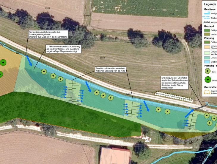 Von der Nachbargemeinde sollte eine Streuobstpflanzung als Ausgleich für ein Kunstrasenfeld angelegt werden.