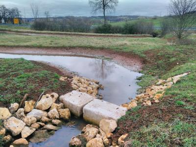 Absetzbecken auf Eh-da-Fläche. In die Landschaft eingepasst. Zuvor verlief hier ein gerader Graben.