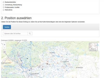 Bildschirmfoto von der Online-Beteiligungsmaske