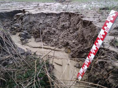 Eine Erosionsrinne im Winterweizen zeigt die Anfälligkeit der Lage, Aufnahme März 2020
