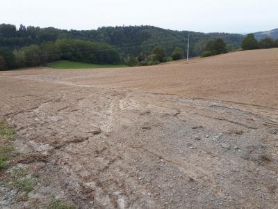 Erosionsschäden auf dem unterhalb des Schotterweges gelegenen Ackerschlag (Onsite-Schäden). Deutlich zu sehen sind auch hier die Einschwemmungen von Schottermaterial.